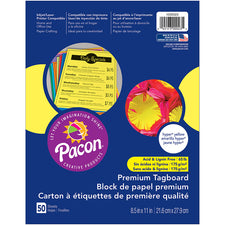 Pacon® Premium Tagboard, 8-1/2″ x 11″ Hyper Yellow