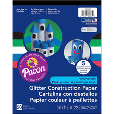 Pacon® Glitter Construction Paper Pad, 9″ x 11-1/2″ Assorted
