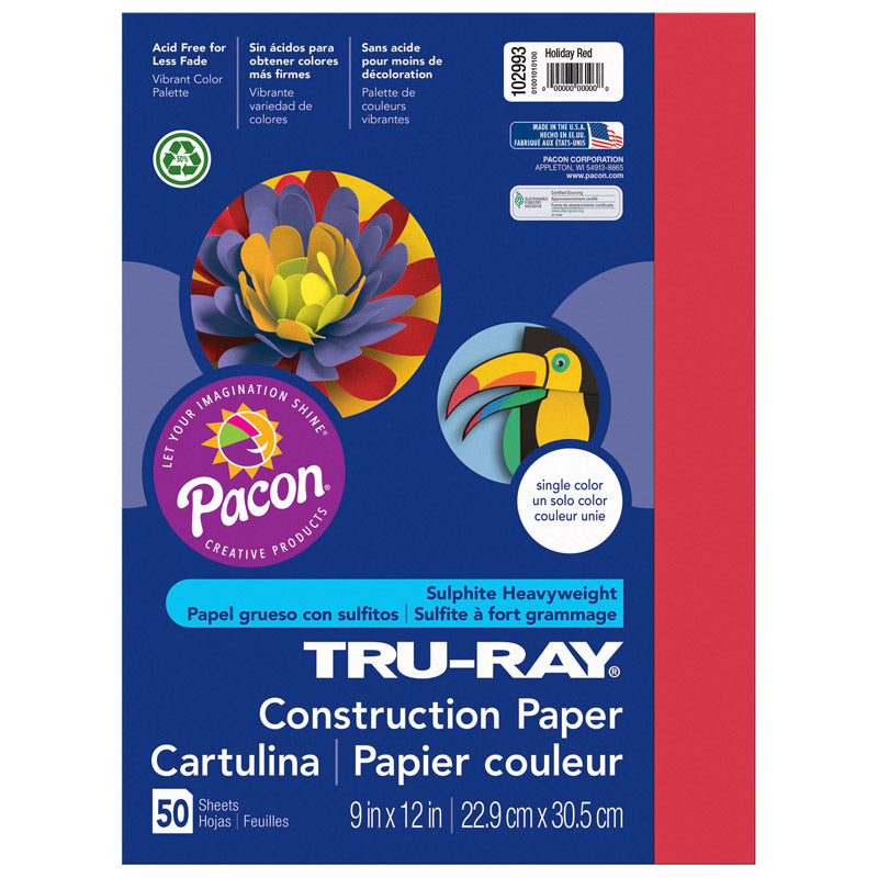 "Tru-Ray® Construction Paper, 9"" x 12"" Holiday Red"