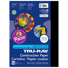 "Tru-Ray® Construction Paper, 9"" x 12"" Black"