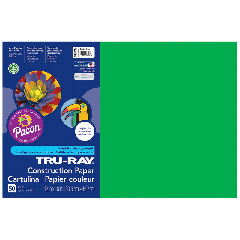 "Tru-Ray® Construction Paper, 12"" x 18"" Festive Green"