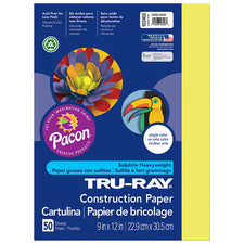 "Tru-Ray® Construction Paper, 9"" x 12"" Lively Lemon"
