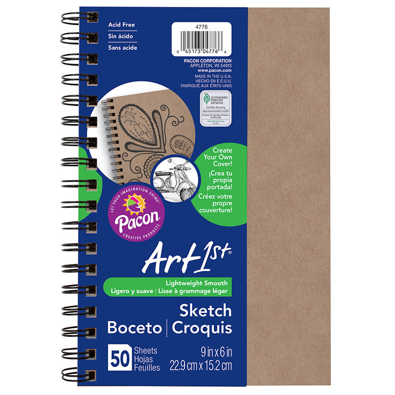 "Art1st® Create Your Own Cover Sketch Diary, 6"" x 9"" (50 Sheets, Natural Cover)"