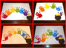 Hand Print Rainbows for St. Patrick's Day!