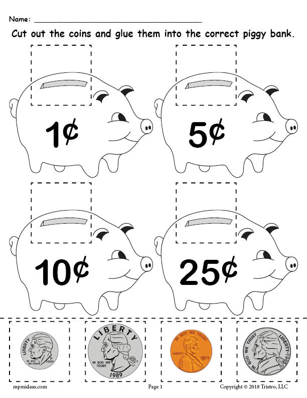 image about Coins Printable known as Free of charge Printable Economical Matching Worksheet With Cash SupplyMe