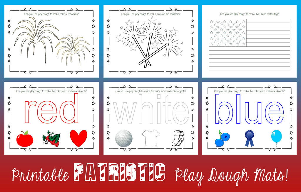 Printable Patriotic Play Dough Mats!