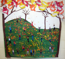 """Playing in the Leaves!"" Sweet Fall Bulletin Board Idea"