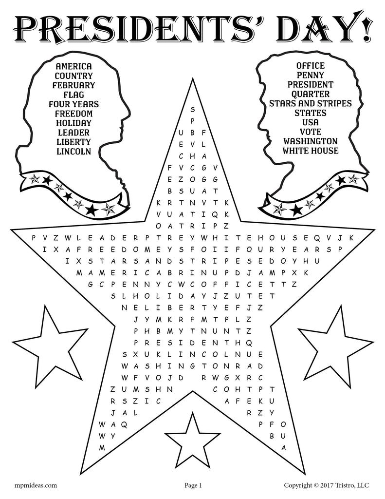 Printable Presidents' Day Word Search!