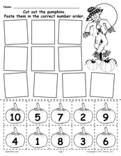 FREE Printable Pumpkin Number Ordering Worksheet 1-10!