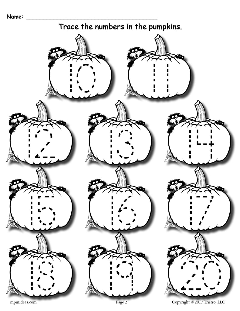 image relating to Numbers 1 20 Printable named Cost-free Printable Pumpkin Amount Tracing Worksheets 1-20