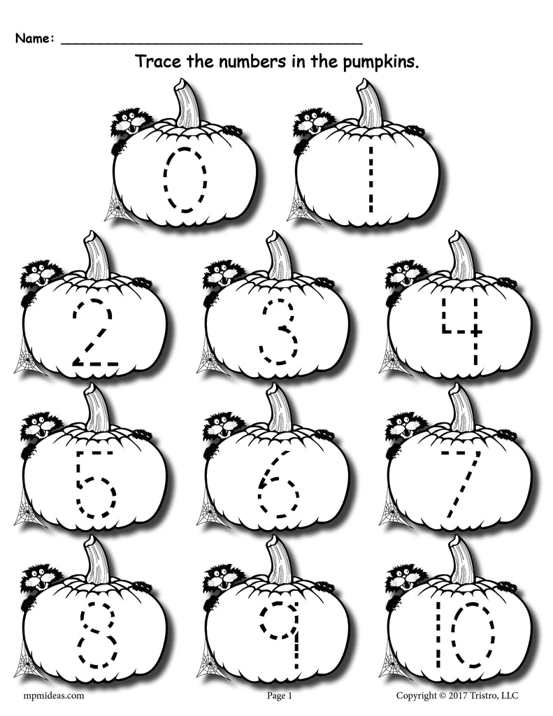 FREE Printable Pumpkin Number Tracing