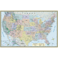 "U.S. Map Laminated Poster 50"" x 32"""