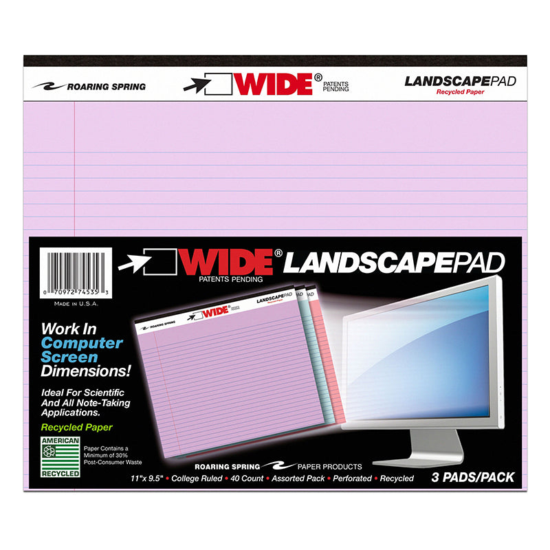 Landscape Pad, 3 Pack Assorted