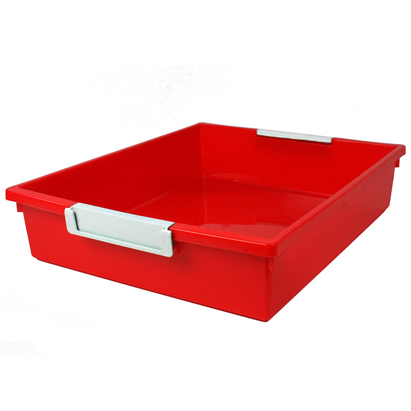 6 Quart Tattle Tray with Label Holder, Red