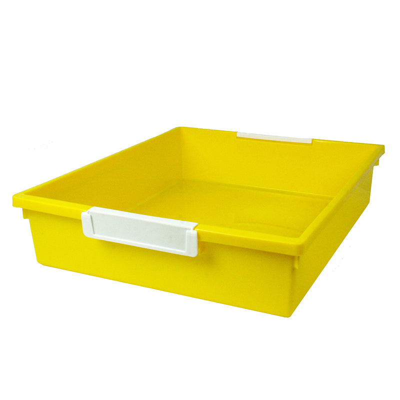 6 Quart Tattle Tray with Label Holder, Yellow