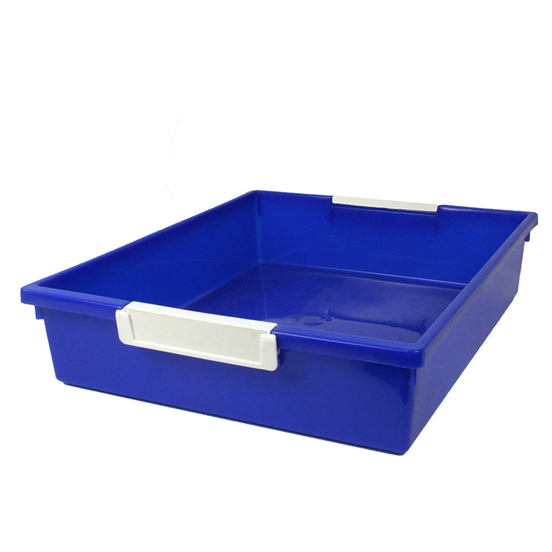 6 Quart Tattle Tray with Label Holder, Blue
