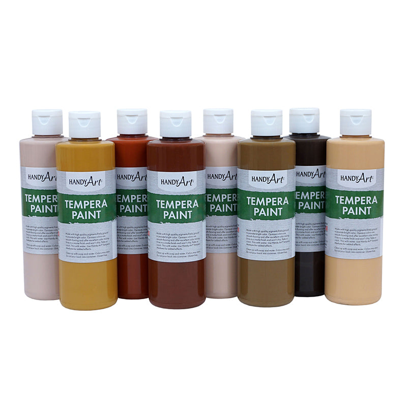Handy Art® Tempera Paint, 8 Oz Set of 8 Multicultural Colors