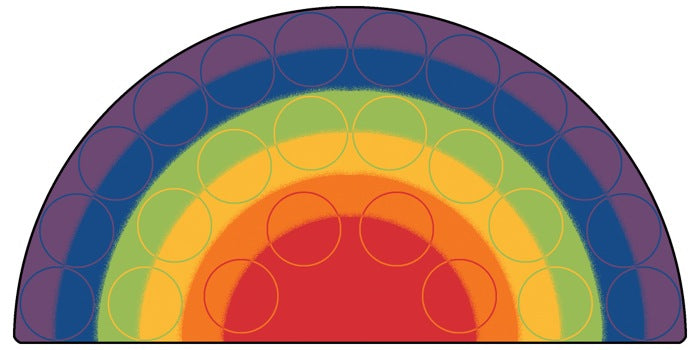 Rainbow Rows Colorful Classroom Rug, 6' x 12' Semi-Circle