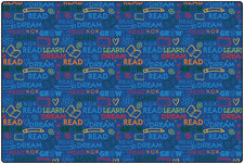 Colorful Read To Dream Pattern Classroom Rug, 4' x 6' Rectangle