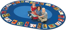 "Reading By The Book Alphabet Classroom Circle Time Rug, 8'3"" x 11'8"" Oval"
