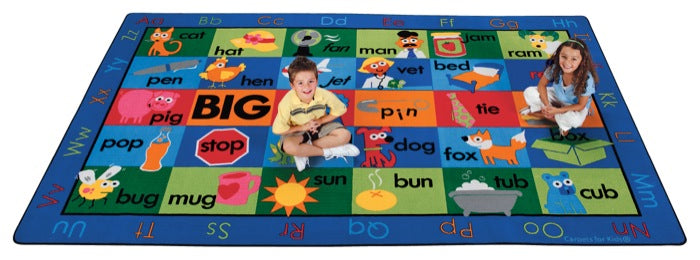"Rhyme Time Alphabet Circle Time Classroom Rug, 7'6"" x 12' Rectangle"