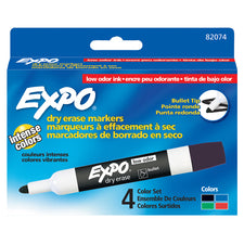 Expo Low Odor Dry Erase Bullet Tip Markers, Set of 4 (Black, Red, Blue, Green)