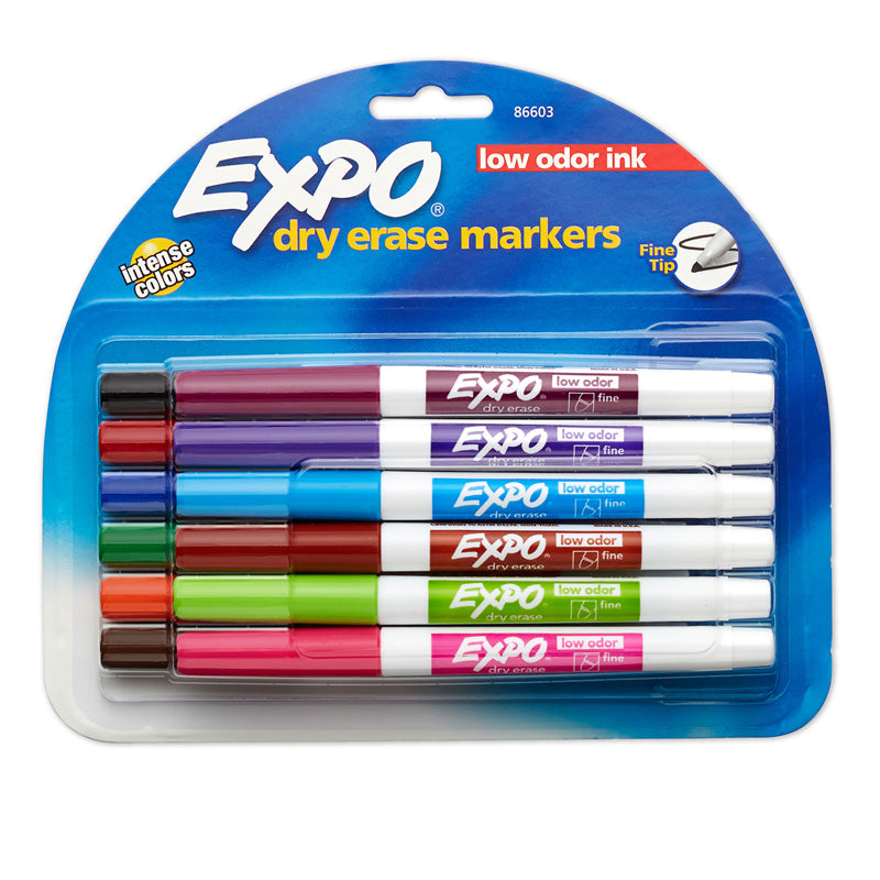 Expo Low Odor Dry Erase Fine Tip Markers, 12 Color Set