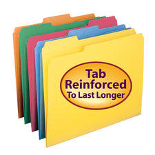 Colored File Folders with Reinforced Tab, 100 Per Box