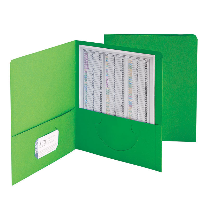 Standard Two-Pocket Folders, Green, 25 Per Box