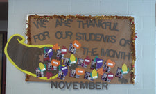 We Are Thankful for Our Students of the Month - November Bulletin Board