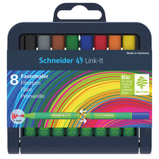 Schneider Link-It 10mm Fiber Pen, 8 Pack Assorted