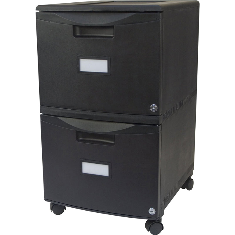 Two Drawer Mobile File Cabinet with Lock, Black
