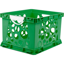 Premium File Crate with Handles, Green