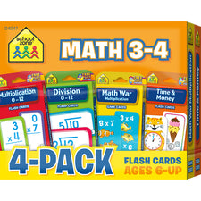 Math 3-4 Flash Card 4-Pack