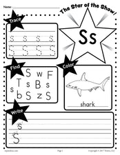 FREE Letter S Worksheet: Tracing, Coloring, Writing & More!