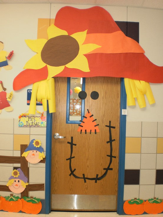 Fall and Halloween Door Display Bulletin Board Idea