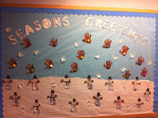 Season's Greetings Winter Themed Bulletin Board Idea