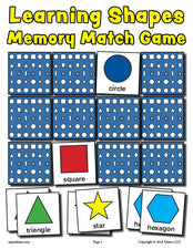 FREE Printable Shapes Matching Memory Game!
