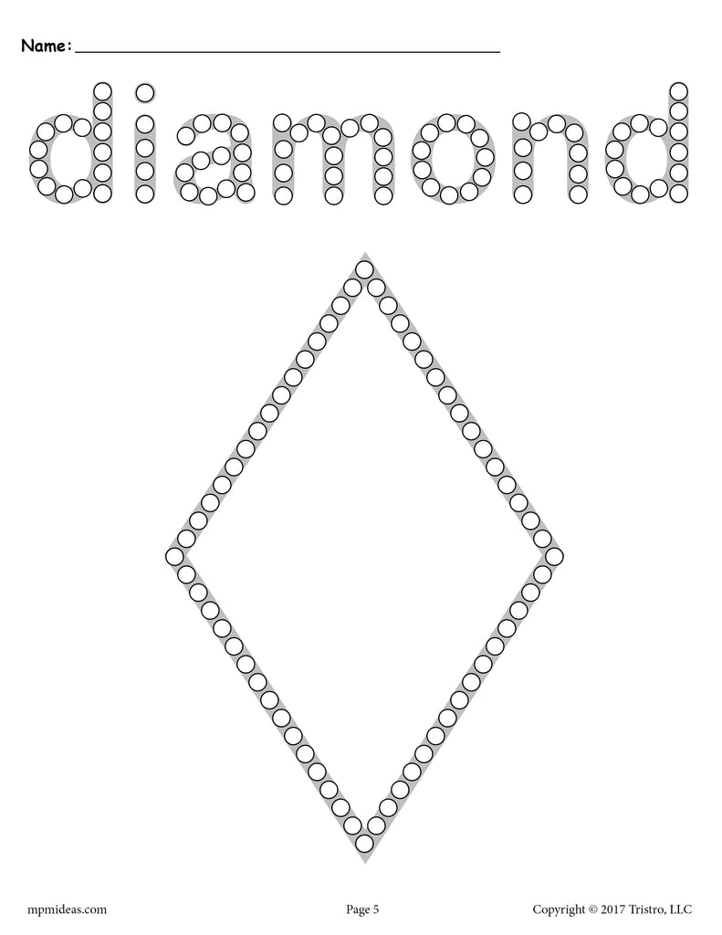 photo relating to Q Tip Painting Printable identify Totally free Diamond Q-Idea Portray Printable - Diamond Worksheet