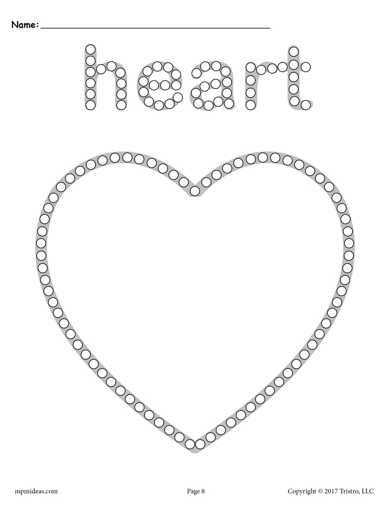 FREE Heart QTip Painting Printable