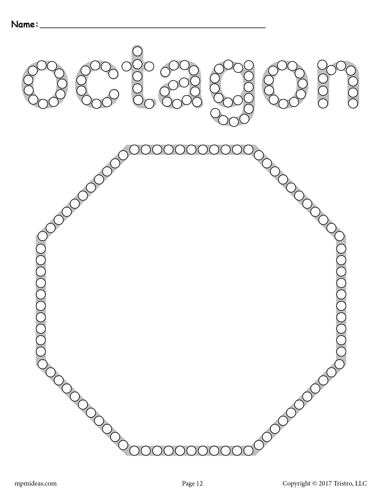 Free Octagon Q Tip Painting Printable Octagon Worksheet Coloring