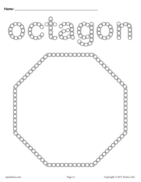 Octagon Q Tip Painting Printable Octagon Worksheet