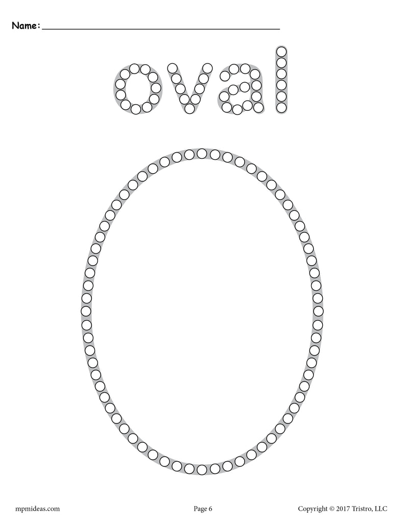 Free Oval Q Tip Painting Printable Oval Worksheet