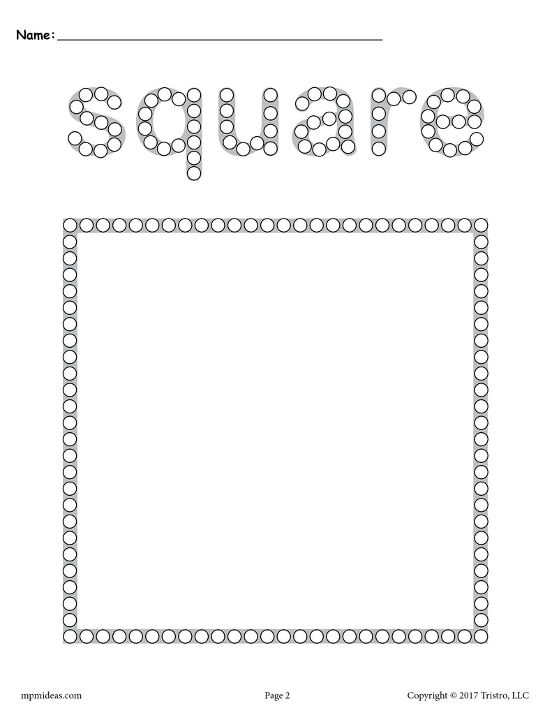 photo about Q Tip Painting Printable called Totally free Sq. Q-Idea Portray Printable - Sq. Worksheet