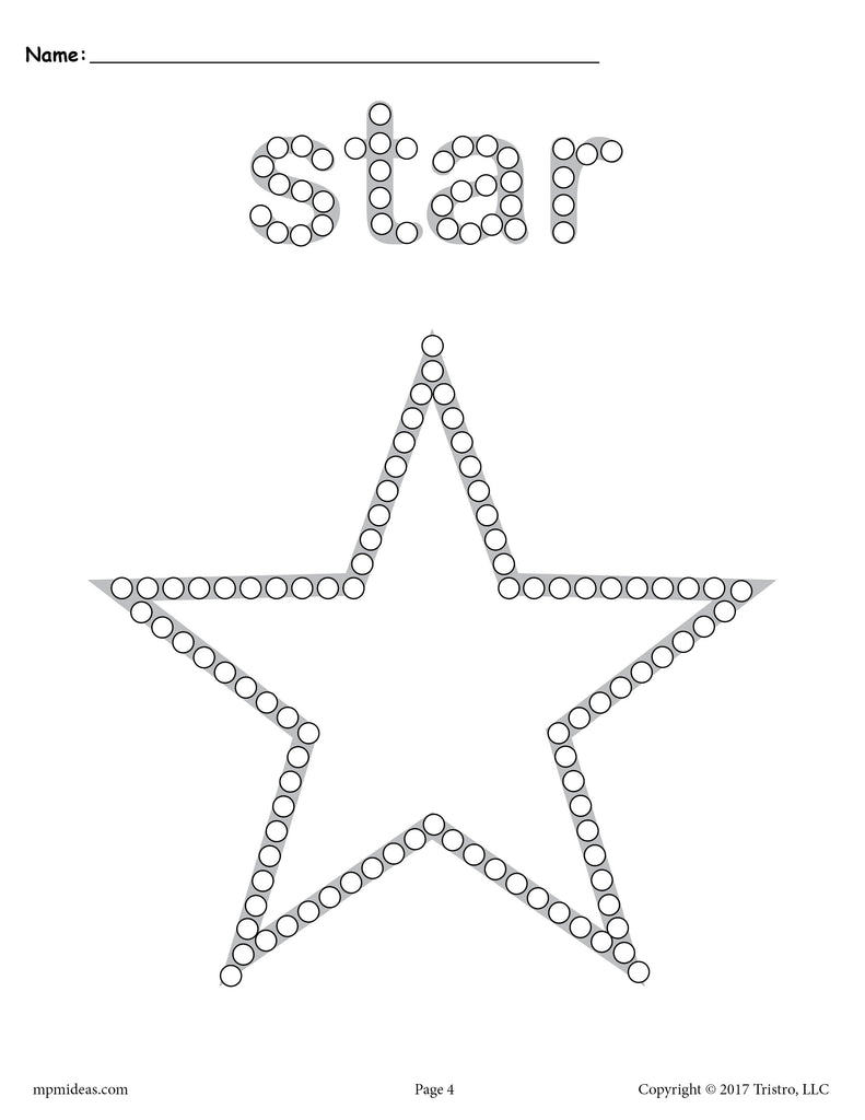 FREE Star QTip Painting Printable