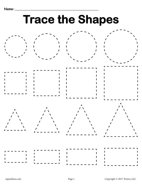 3 FREE Tracing Shapes Worksheets - Smallest to Largest ...