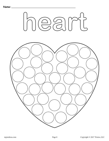 Orsett hall valentines day printable coloring pages ~ FREE Heart Do-A-Dot Printable - Heart Coloring Page – SupplyMe