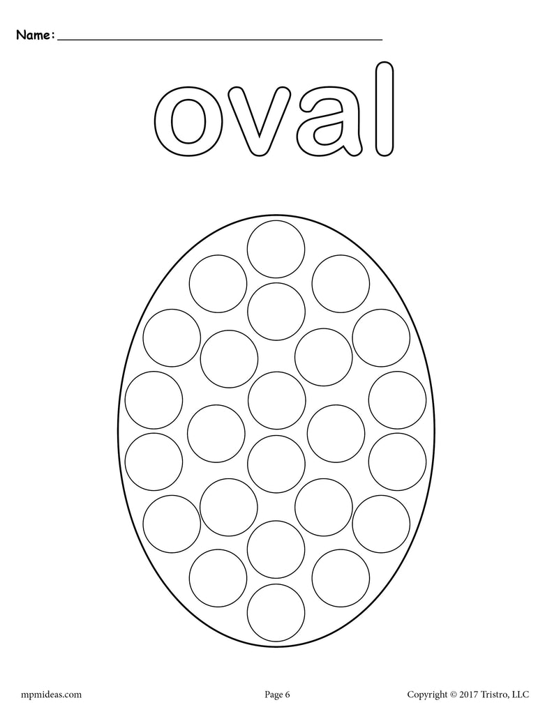 free oval do a dot printable oval coloring page supplyme. Black Bedroom Furniture Sets. Home Design Ideas