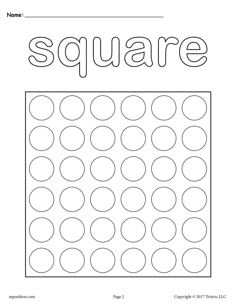Square Do-A-Dot Printable - Square Coloring Page - SupplyMe