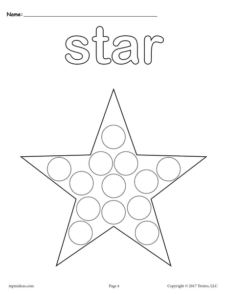 free star do a dot printable star coloring page supplyme. Black Bedroom Furniture Sets. Home Design Ideas
